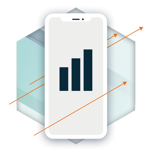 a mobile phone showing increased revenue